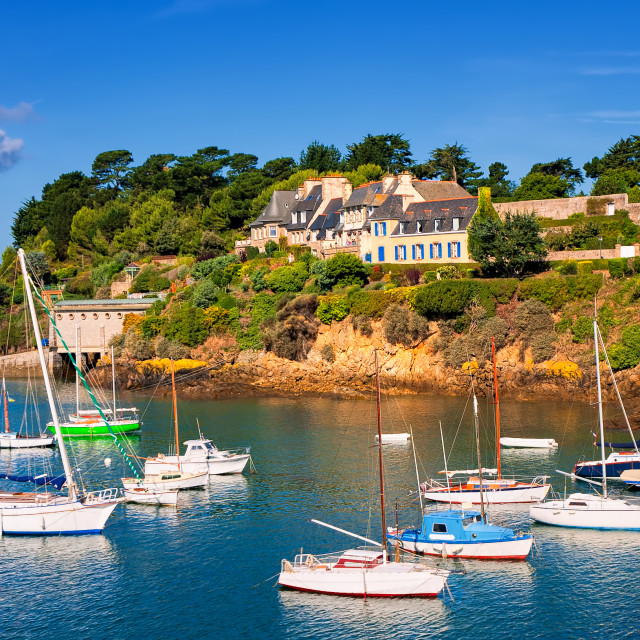 """Seaside villas on a hill on atlantic coast, Brittany, France"" stock image"