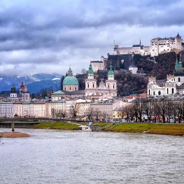 """""""Salzburg in the Alps mountains, Austria, panoramic view in the early morning..."""" stock image"""