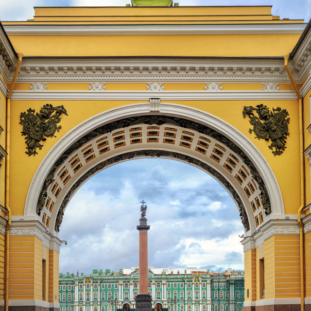 """""""Winter Palace view through Senate Arch, St Petersburg, Russia"""" stock image"""