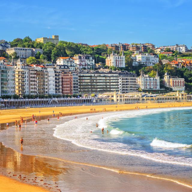 """Sand beach in San Sebastian, Spain"" stock image"