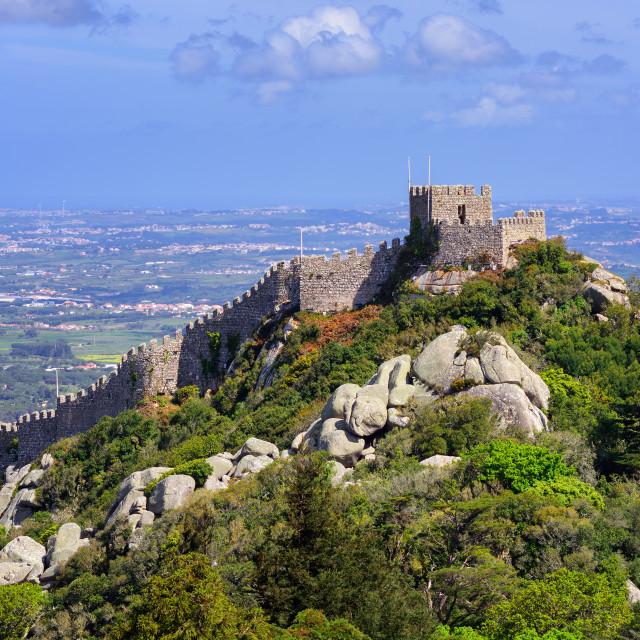 """The Moorish castle, Sintra, Portugal"" stock image"