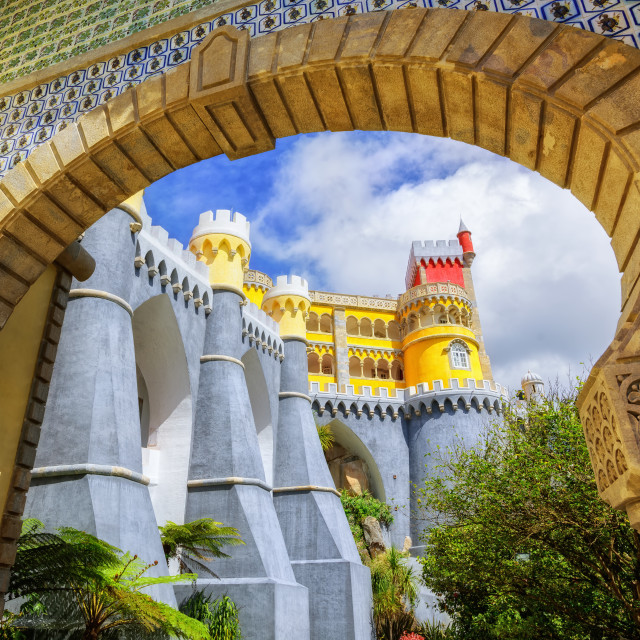 """Pena palace, Sintra, Portugal, view through the entrance arch"" stock image"