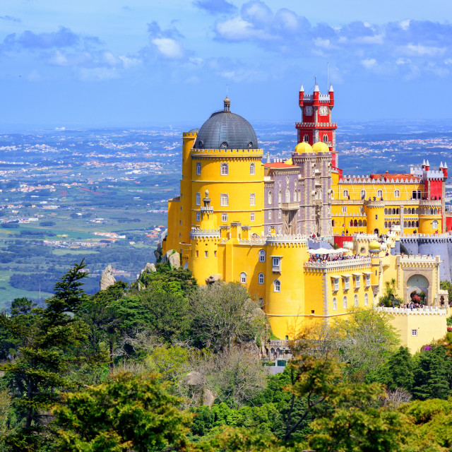 """Panoramic view of Pena palace, Sintra, Portugal"" stock image"