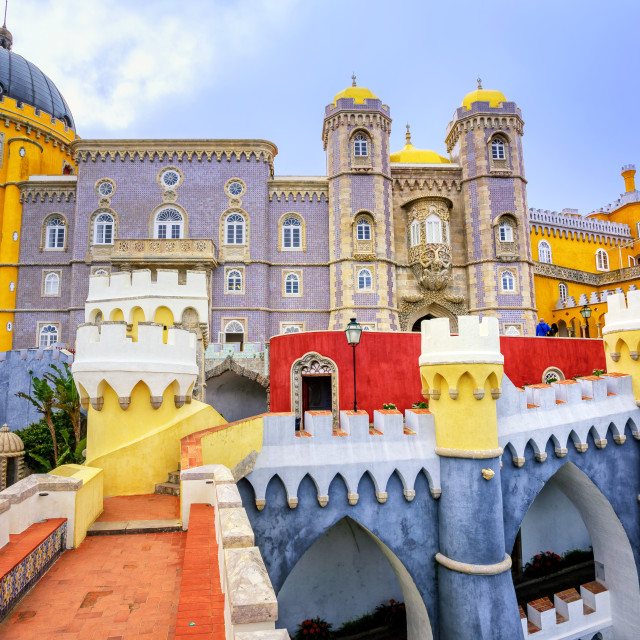 """Colorful facade of Pena palace, Sintra, Portugal"" stock image"