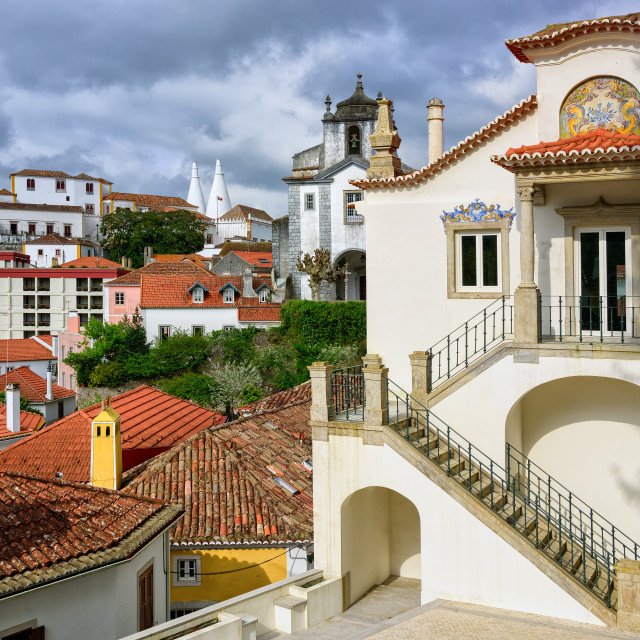 """Sintra town, Portugal, the National Palace in background"" stock image"