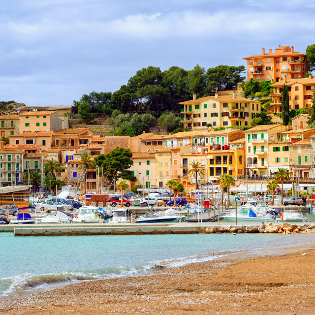 """Resort town Port Soller, Mediterranean Sea, Mallorca, Spain"" stock image"