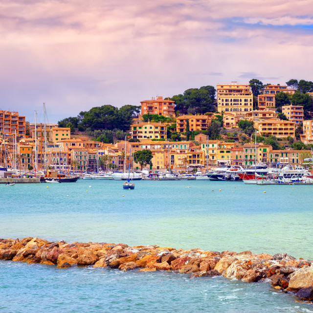 """Port town Soller on sunset, Mallorca, Spain"" stock image"