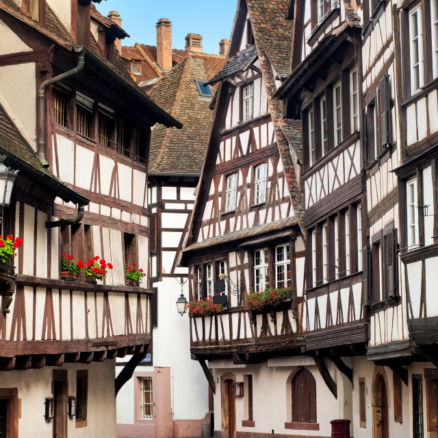 """Traditional half-timbered houses in the old town of Strasbourg, Alsace, France"" stock image"