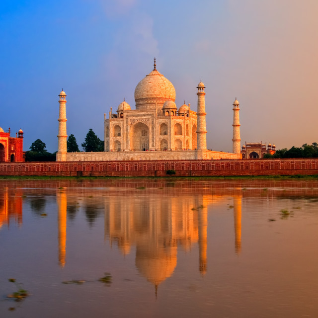 """Taj Mahal, Agra, India, on sunset"" stock image"