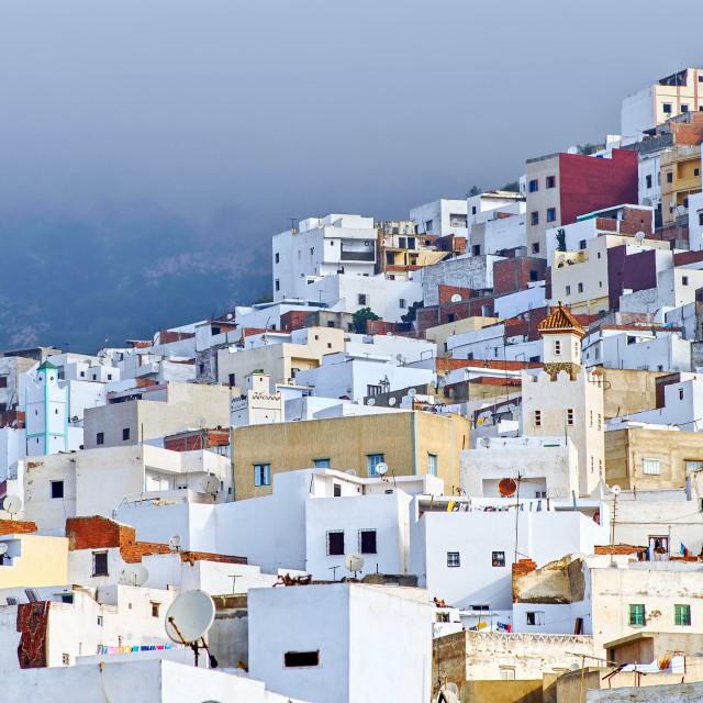 """White moroccan town Tetouan near Tangier, Morocco"" stock image"