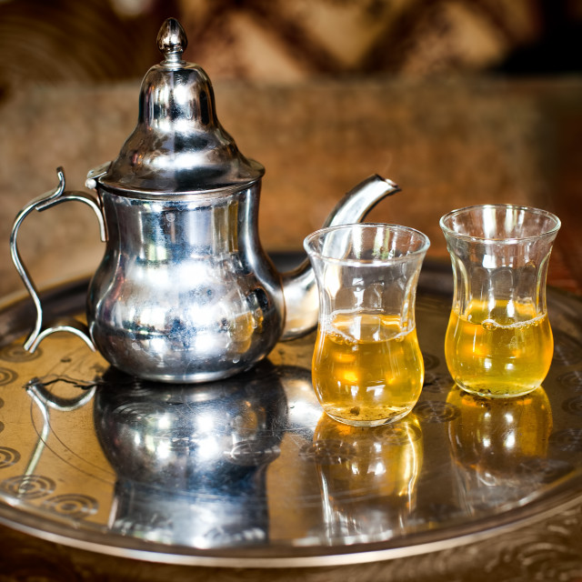 """Set of arabic nana mint tea with metal tea pot and glasses"" stock image"
