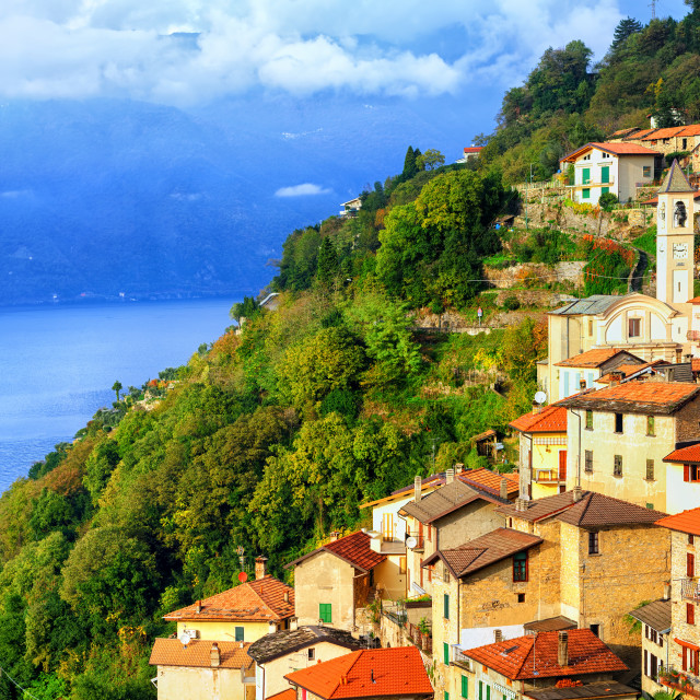 """A small town on the Lake Como in northern Italy near Milan, Italy"" stock image"