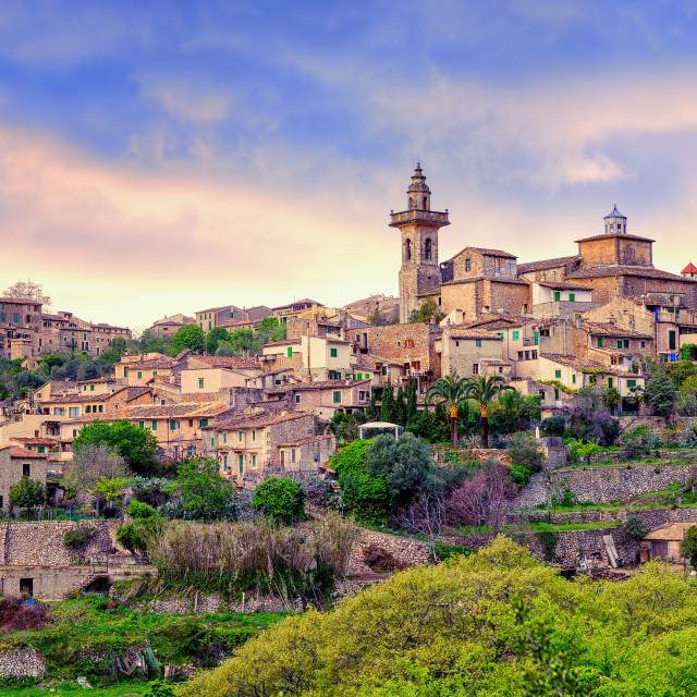 """Valdemossa, monastery and hilltop town, Mallorca, Spain."" stock image"