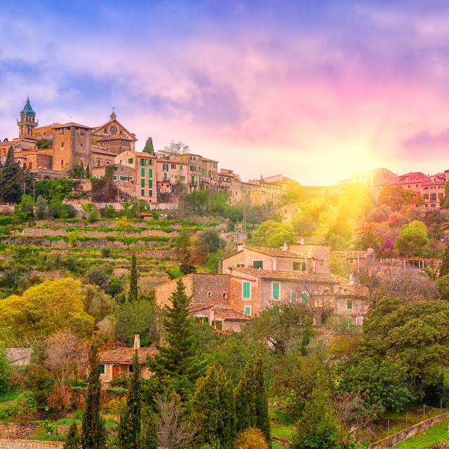 """Sunrise in Valdemossa valley, Mallorca, Spain"" stock image"