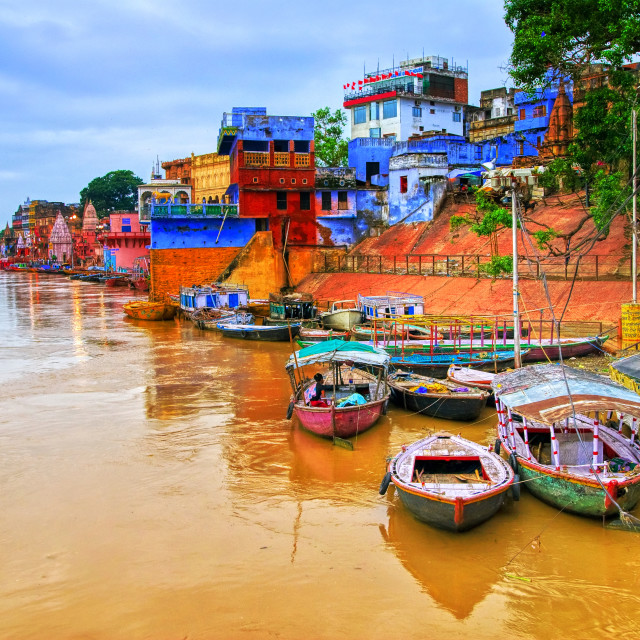 """View of Varanasi on river Ganges, India"" stock image"