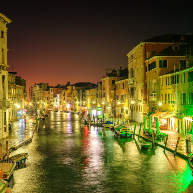 """Venice, Italy, at night"" stock image"