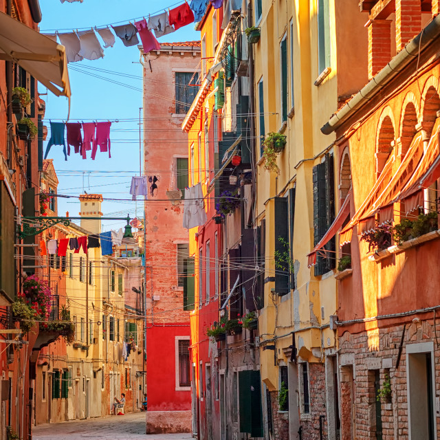 """Clothes lines on a street in Venice, Italy"" stock image"