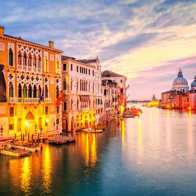 """The Grand Canal and basilica Santa Maria della Salute on sunrise, Venice, Italy"" stock image"