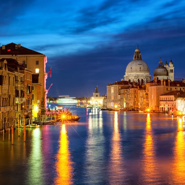 """The Grand Canal and Santa Maria della Salute basilica, Venice, Italy, at night"" stock image"
