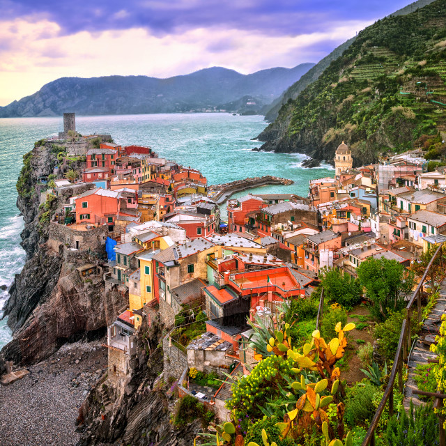 """Vernazza in Cinque Terre, Liguria, Italy, on sunset"" stock image"