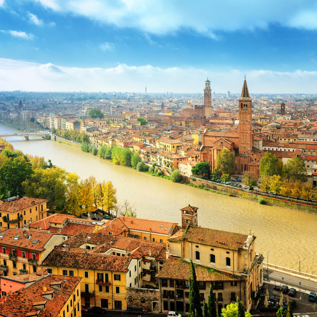 """Old town of Verona and the river Adige, Italy"" stock image"