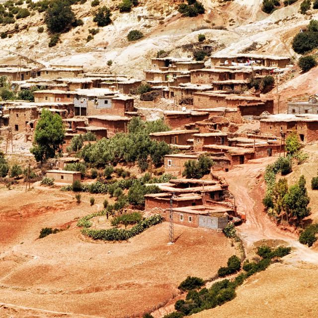 """Bedouin village in Atlas mountains, Sahara, Morocco"" stock image"