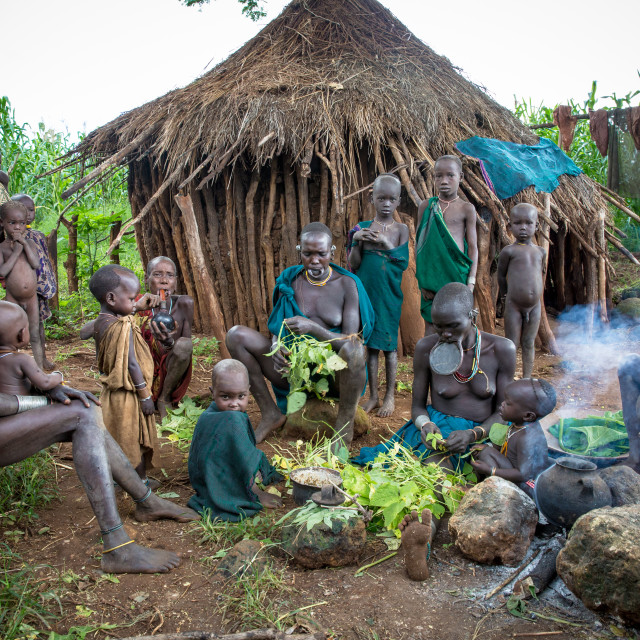 """""""Women and childeren from the Suri Tribe in a small village"""" stock image"""