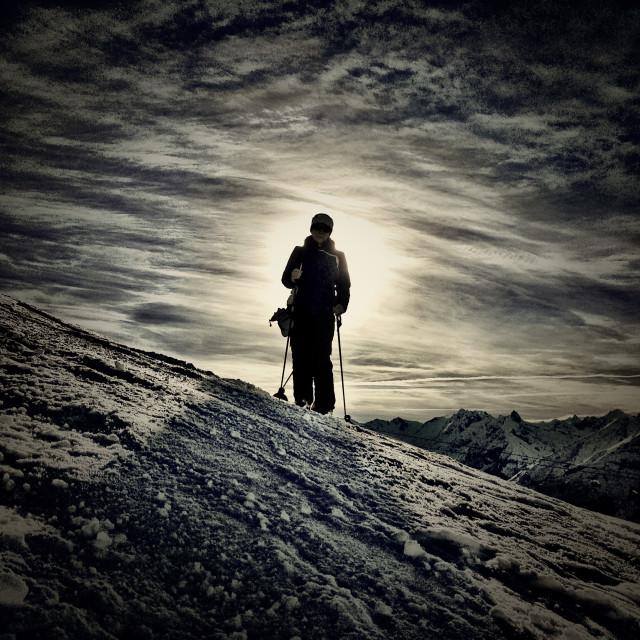 """""""Backlit skier"""" stock image"""