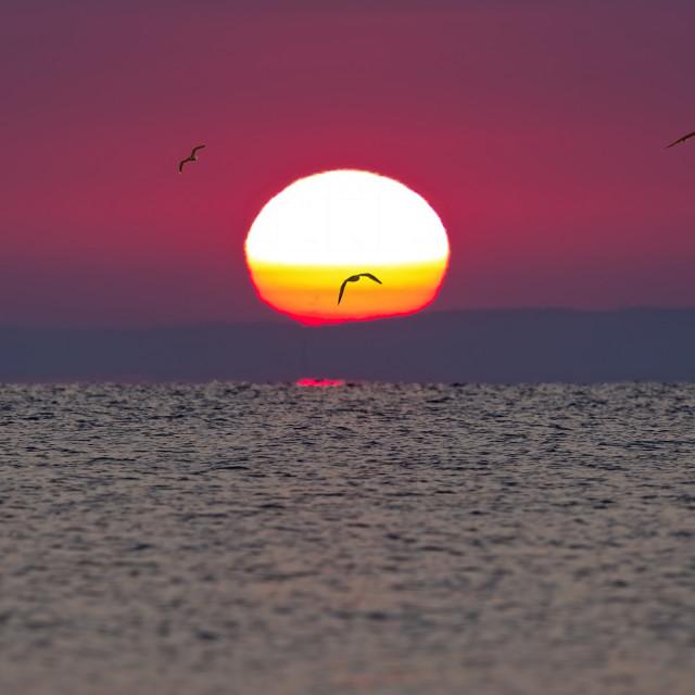 """Colorful sunset over the lake Balaton in Hungary."" stock image"