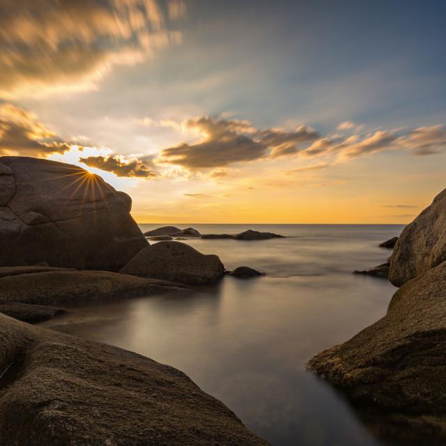 """Beautiful sunrise in a bay in Costa Brava, Spain"" stock image"