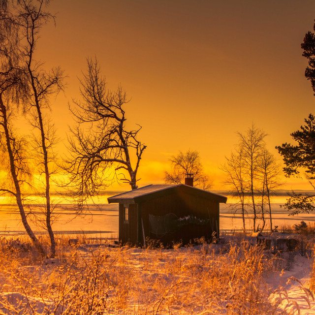 """""""Sunset during a Swedish winter"""" stock image"""