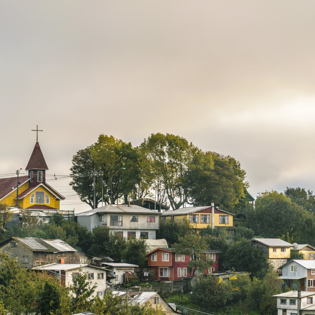 """""""Neighborhood at Top of Hill, Puerto Montt, Chile"""" stock image"""