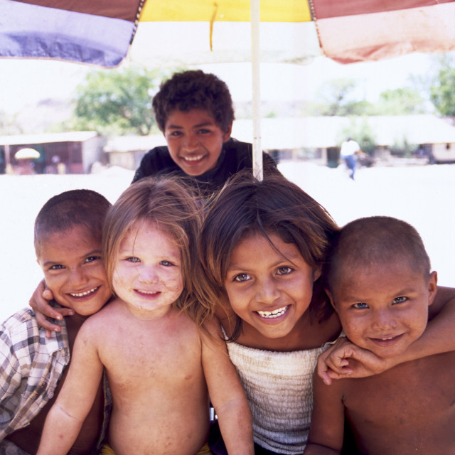 """""""Guasaule Nicaragua : In a Nicaraguan border town, children dirty from playing..."""" stock image"""