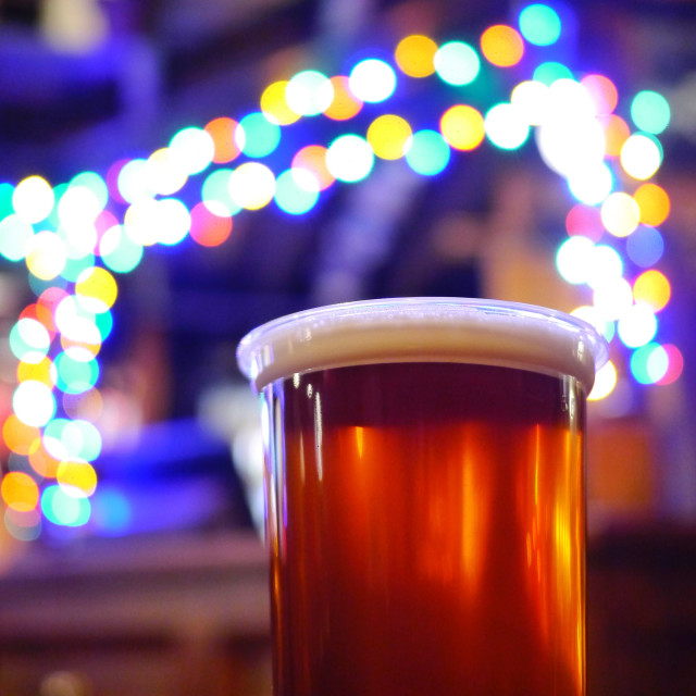 """Beer at Christmas."" stock image"
