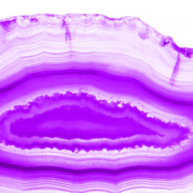 """Ultra violet pruple agate mineral cross section isolated on white background. Abstract background"" stock image"