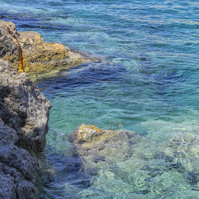 """Rocky coast in Greece"" stock image"