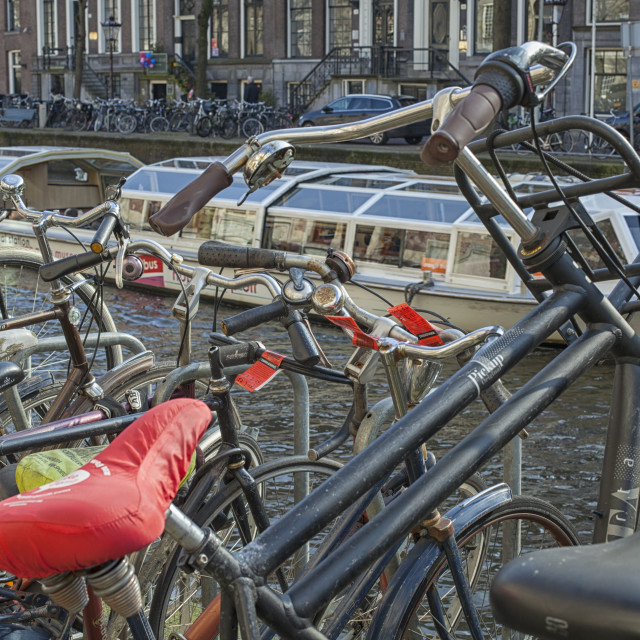 """""""Parked bikes in Amsterdam"""" stock image"""