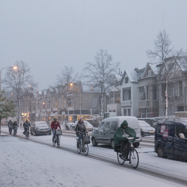 """""""Snow in town"""" stock image"""