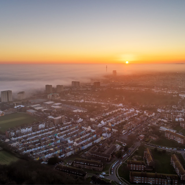"""Sea Mist Over Brighton"" stock image"
