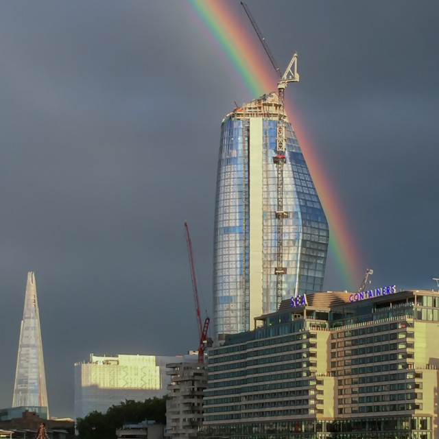 """Rainbow of the Thames"" stock image"