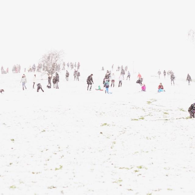"""Snow-covered Primrose Hill"" stock image"