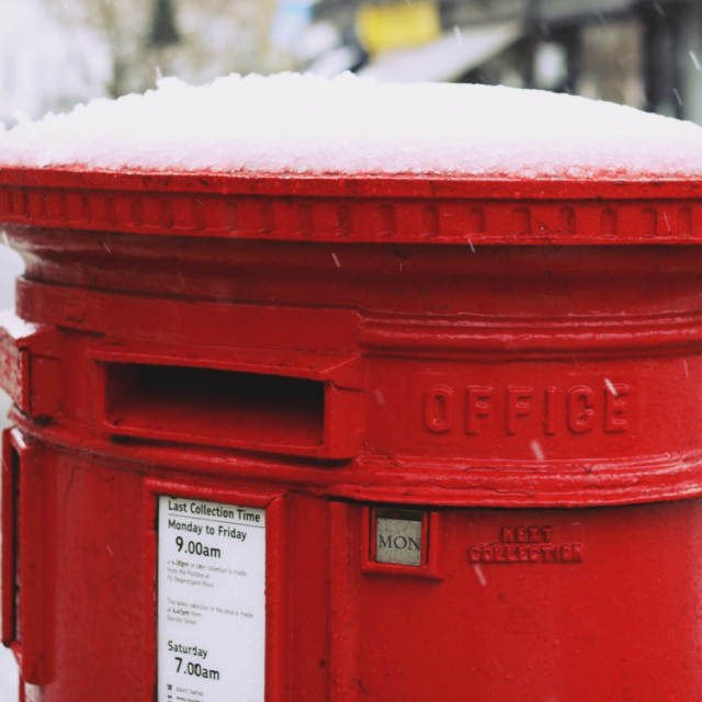 """""""Snow-capped post box"""" stock image"""