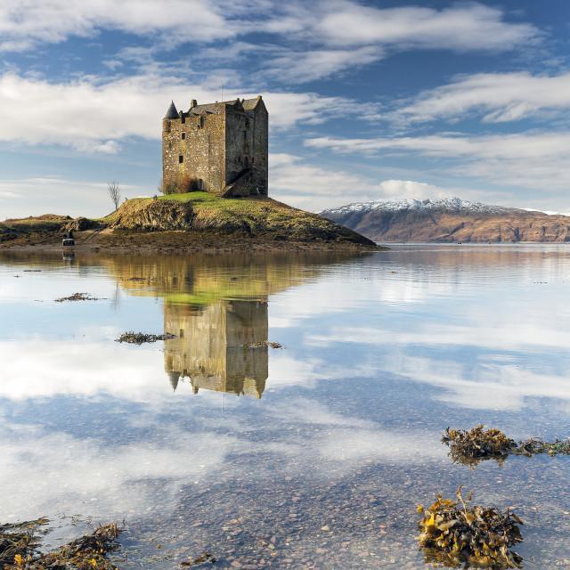 """""""Castle Stalker Reflection"""" stock image"""