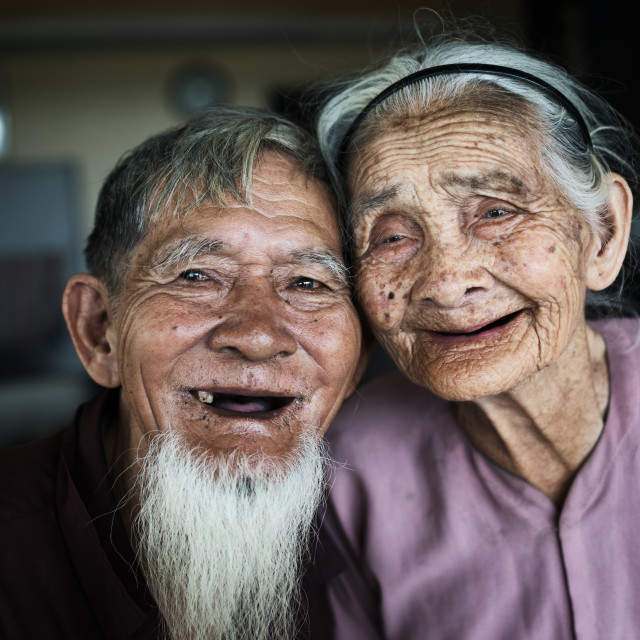 """Old married couple from Vietnam"" stock image"