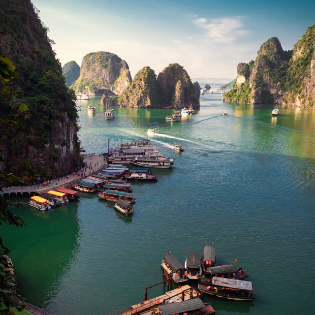 """A view of Halong Bay in Vietnam"" stock image"