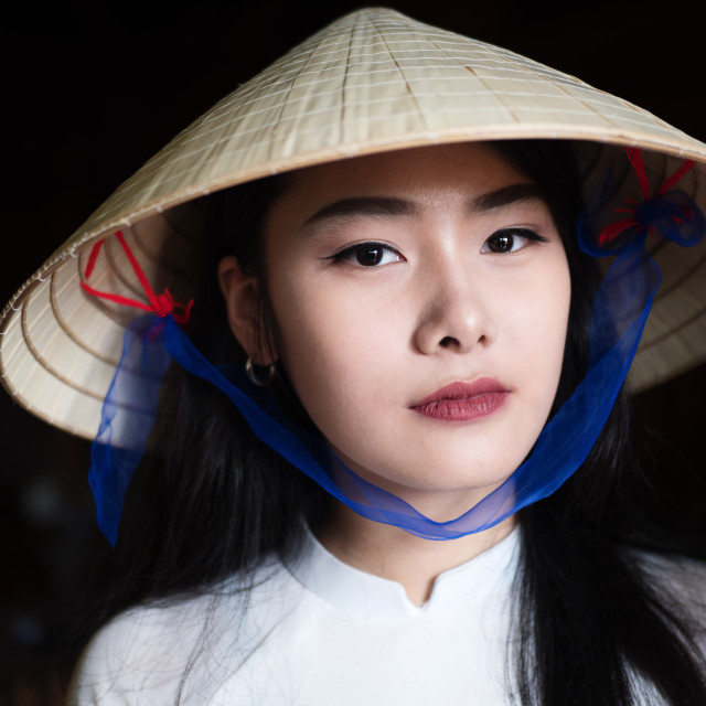 """Vietnamese model in traditional dress"" stock image"