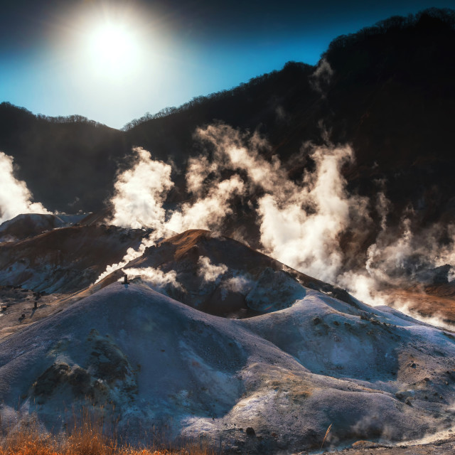 """Jigokudani hell valley with sunrise"" stock image"
