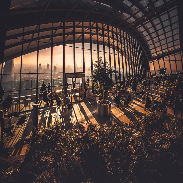 """Sunset at Sky garden"" stock image"