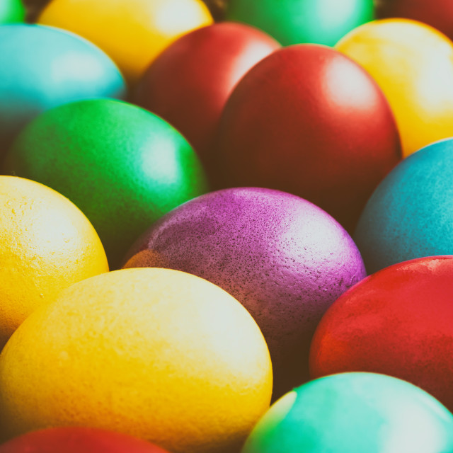 """Easter Eggs Pile In Basket"" stock image"