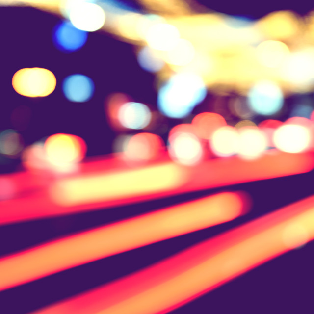 """City Traffic Lights Background With Blurred Lights"" stock image"